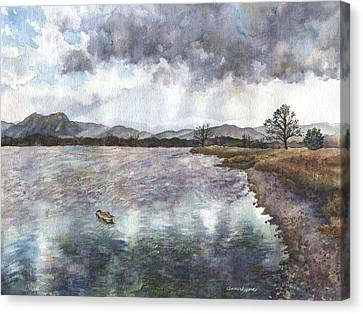 Canvas Print featuring the painting Walden Ponds On An April Evening by Anne Gifford