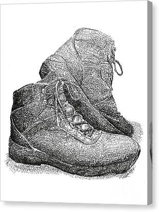 Walk A Mile In My Shoes-john Casanover Ms Project Canvas Print by Michael Volpicelli
