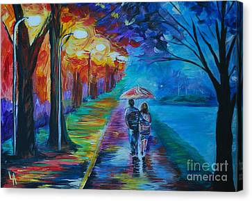 Canvas Print featuring the painting Walk By The Lake  by Leslie Allen