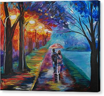 Canvas Print featuring the painting Walk By The Lake Series 1 by Leslie Allen