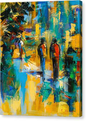 Walk In The City Canvas Print by Elise Palmigiani