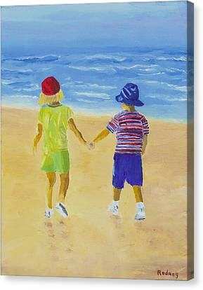 Canvas Print featuring the painting Walk On The Beach by Rodney Campbell