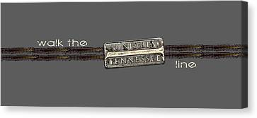 Canvas Print featuring the photograph Walk The Line Light Lettering by Heather Applegate