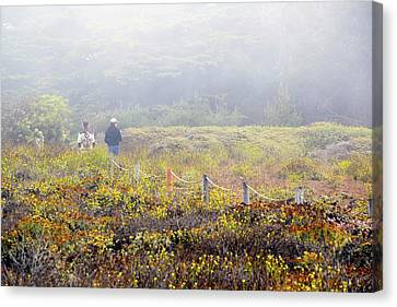 Foggy Day Canvas Print - Walk With A Friend On A Foggy Day In Cambria By The Sea by Barbra Snyder