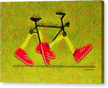 Walking Bike - Pa Canvas Print by Leonardo Digenio