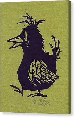Linoleum Canvas Print - Walking Bird With Green Background by Barry Nelles Art