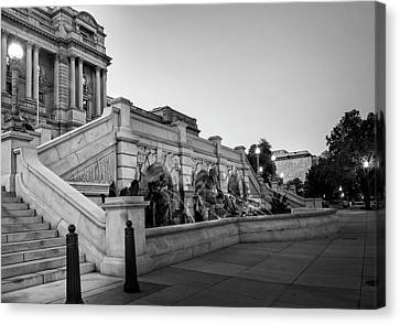Canvas Print featuring the photograph Walking By The Library Of Congress In Black And White by Greg Mimbs