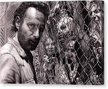Walking Dead Faceing  Canvas Print by Oscar Lopez