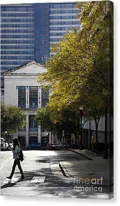 Urban Nature Study Canvas Print - Walking Downtown by Marina McLain