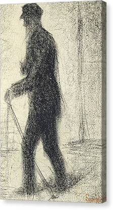 Walking Canvas Print by Georges Pierre Seurat