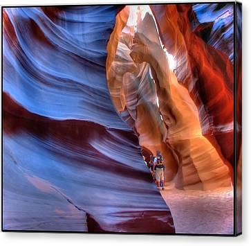 Walking In Antelope Canyon Canvas Print