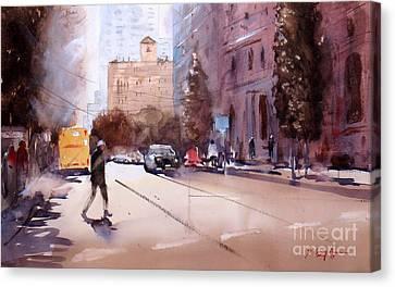 Walking In Brisbane 1 Canvas Print by Sof Georgiou