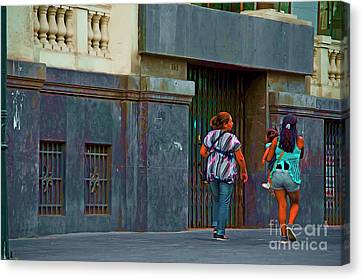 Canvas Print featuring the photograph Walking In Lima, Peru by Mary Machare