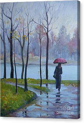 Canvas Print featuring the painting Walking In The Rain by Elena Oleniuc
