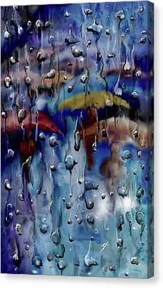 Canvas Print featuring the digital art Walking In The Rainfall by Darren Cannell