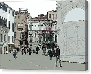 Walking In Venice Canvas Print by Mindy Newman