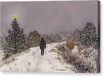 Canvas Print featuring the painting Walking Into The Light by Anne Gifford