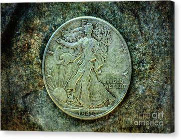 Canvas Print featuring the digital art Walking Liberty Half Dollar Obverse by Randy Steele
