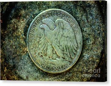 Canvas Print featuring the digital art Walking Liberty Half Dollar Reverse by Randy Steele