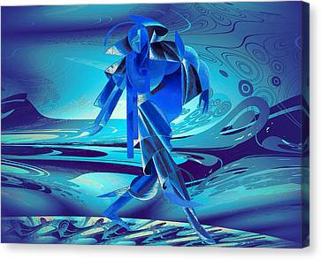 Canvas Print featuring the digital art Walking On A Stormy Beach by Robert G Kernodle