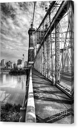 Walking On John Roebling's Bridge Bw Canvas Print by Mel Steinhauer