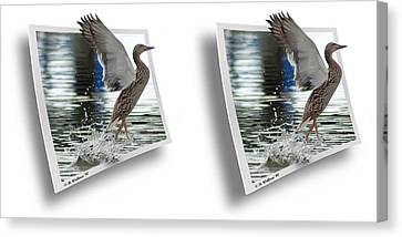 Walking On Water - Gently Cross Your Eyes And Focus On The Middle Image Canvas Print by Brian Wallace