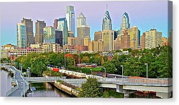 Walking Path To Philadelphia Canvas Print by Frozen in Time Fine Art Photography
