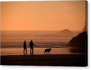 Walking The Dog 1 Canvas Print by Mike Flynn