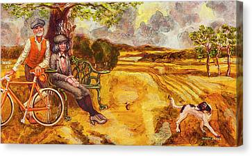 Walking The Dog After Gainsborough Canvas Print by Mark Jones