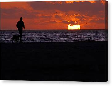 Clayton Canvas Print - Walking The Dog by Clayton Bruster