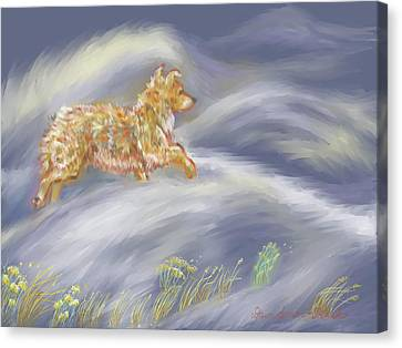 Snow Drifts Canvas Print - Walking The Dog In A Ground Blizzard by Dawn Senior-Trask
