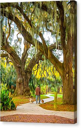 Walking The Dogs In New Orleans - Paint Canvas Print by Steve Harrington