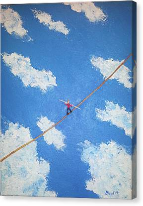 Canvas Print featuring the painting Walking The Line by Thomas Blood