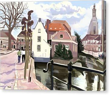 Walking Through Amersfoort Canvas Print by Plum Ovelgonne