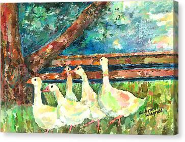 Walking Through The Grass Canvas Print