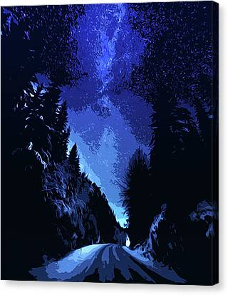 Walking Under A Starry Sky Canvas Print