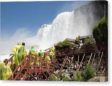 Canvas Print featuring the photograph Walking Up Below Niagara Falls by Jeff Folger