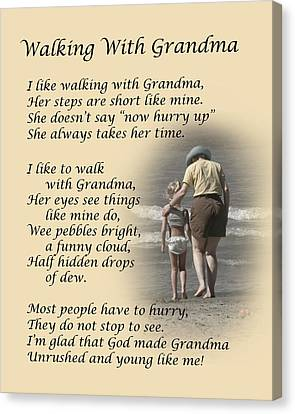 Walking With Grandma Canvas Print