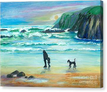 Walking With Grandpa - Painting Canvas Print by Veronica Rickard