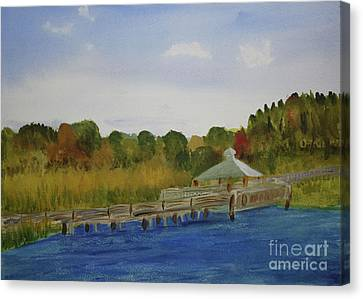 Nature Center Pond Canvas Print - Walkway At Green Cay by Donna Walsh