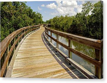 Canvas Print featuring the photograph Walkway Over The Florida Salt Water Marsh  -  Preservewalkway135453 by Frank J Benz