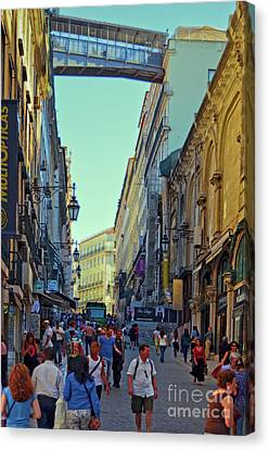 Canvas Print featuring the photograph Walkway Over The Street - Lisbon by Mary Machare