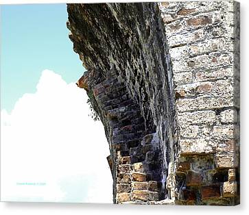 Wall And Blue Sky Canvas Print by Connie Diane Richards