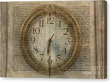 Canvas Print featuring the digital art Wall Clock And Book Double Exposure by Randy Steele