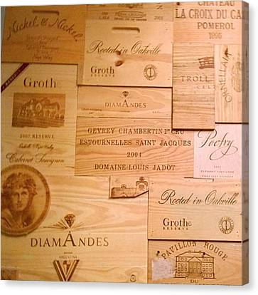 Food And Beverage Canvas Print - Wall Decorated With Used Wine Crates by Shari Warren