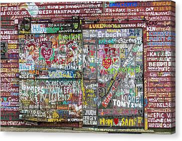 Canvas Print featuring the photograph Wall Of Love by Joel Witmeyer