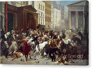 Late Canvas Print - Wall Street: Bears & Bulls by Granger