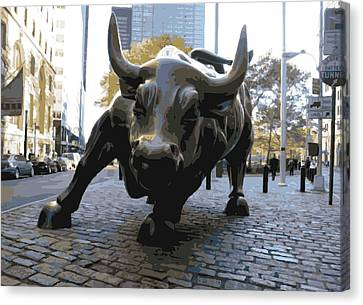 Wall Street Bull Color 16 Canvas Print