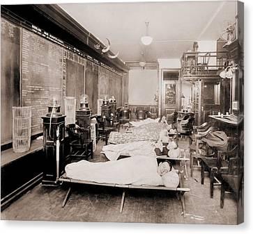 Wall Street Clerks Sleeping In Office Canvas Print by Everett