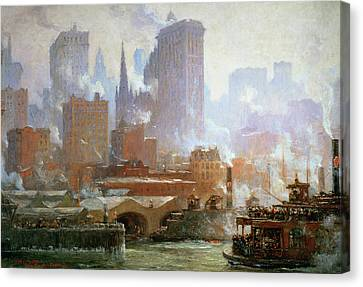 City Scenes Canvas Print - Wall Street Ferry Ship by Colin Campbell Cooper